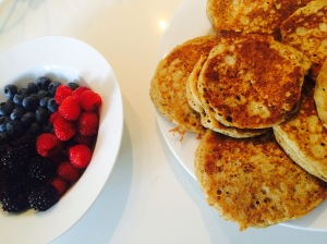 sourdough pancakes and fruit